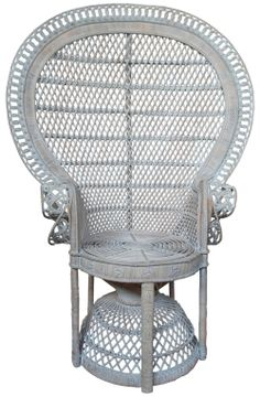 peacock rattan chair white washed color