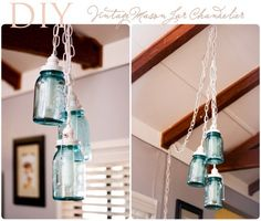 DIY Mason Jar Chandelier. Love!