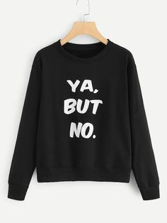To find out about the Letter Print Sweatshirt at SHEIN, part of our latest Sweatshirts ready to shop online today! Sweatshirts Online, Printed Sweatshirts, Hoodies, Fashion Sale, Fashion News, Fashion Fashion, Vintage Fashion, Sweaters And Jeans, Black Pattern