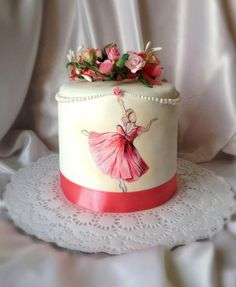 """Cake with hand-painted """" Ah ! ballet ballet!"""" by Sweet pear"""