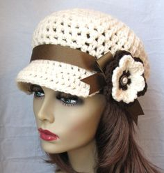 Really love this hat too!!  SALE Crochet Newsboy Womens Hat Teens Girls Off by JadeExpressions, $36.00