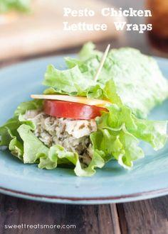 Pesto Chicken Lettuce Wraps via sweettreatsmore.com.  Quick and easy, healthy lunch! #sargentocheese #recipe #healthy