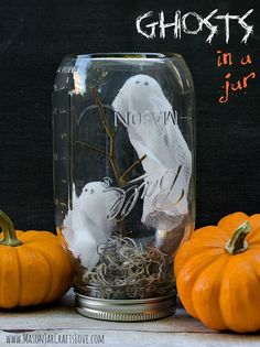 Halloween Craft Ideas with Mason Jars - Mason Jar Craft Ideas - Ghosts in Mason Jars @Mason Jar Crafts Love blog
