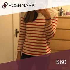 Sezane Oscar Red Striped Jersey Only worn a handful of times. This striped top with cute back bow detail is a part of Sezane's permanent collection (currently selling on the site for $95). In excellent condition! I'm selling because it's slightly big on me. I really love Sezane clothing! It's very well made and added bonus that it's a Parisian brand. Sezane Tops Tees - Long Sleeve