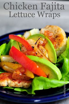 Chicken Fajita Lettuce Wraps Recipe from addapinch.com~T~ These are delicious and so easy. She uses chicken tenders. Perfect for a quick fix for dinner.