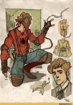 art,красивые рисунки и картины,Смешные комиксы,веб-комиксы с юмором и их переводы,spider-man,человек-паук,Питер Паркер,песочница,стимпанк,продолжение в комментариях