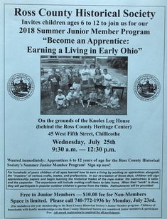 Our Summer Junior Member Program is on July 25, 2018! Space is limited; please call by July 23 to reserve your spot. 740-772-1936.