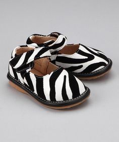 Take a look at this Zebra Squeaker Mary Jane by Laniecakes on #zulily today!