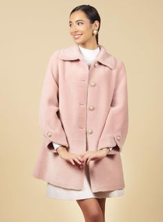 'Singin' in the Rain' 100% Wool Trench Coat in Rosa – Santinni Girly Girl Outfits, An American In Paris, Wool Trench Coat, Wool Fabric, Collar And Cuff, I Saw, Winter Fashion, Sleeves, Model