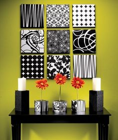 cover styrofoam, box lids, or canvas with either fabric, gift paper, scrapbook ideas.... can change with seasons!  1. Cut the 1