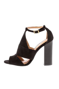 """Black cut out shoes with a chunky block heel peep toe lightly cushioned footbed adjustable buckle closure and a non skid sole.  Approx. Measures: 4"""" heel.  Embark Block Heel by Bamboo. Shoes - Pumps & Heels - High Heel Shoes - Pumps & Heels - Open Toe Shoes - Pumps & Heels - Black New York City Manhattan New York City"""
