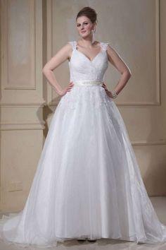 BEBE - A-line V-neck Chapel train Organza Wedding dress