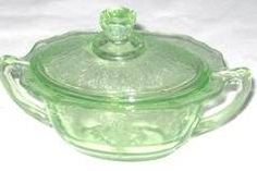 Green Depression Glass, I also have the creamer to match.