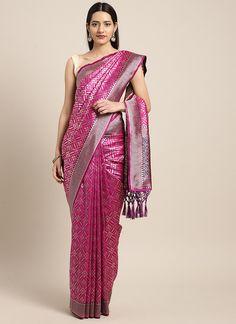 Sareetag Pink  Designer Classic Party Wear Saree Tussar Silk Saree, Art Silk Sarees, Chiffon Saree, Bridal Sarees Online, Silk Sarees Online, Plain Saree, Trendy Sarees, Embroidered Clothes, Pink Silk
