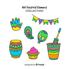 Cartoon holi festival element pack Free Vector Festival T Shirts, Festival Posters, Drawing For Kids, Art For Kids, Holi Poster, Holi Festival Of Colours, Board Decoration, Festival Background, Happy Holi