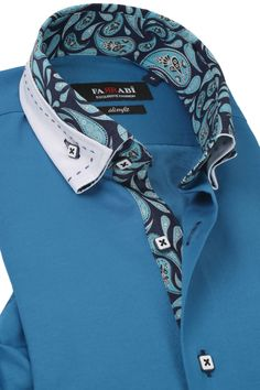 F2 Turquoise Shirt | Farrabi Slim Fit | Exclusive Luxury Shirts Slim Fit Dress Shirts, Tailored Shirts, Casual Shirts For Men, Sewing Clothes Women, Clothes For Women, Mens High Collar Shirts, Funky Shirts, Turquoise Shirt, Mens Designer Shirts