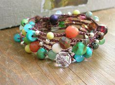 Colorful+crochet+wrap+bracelet+Bohemian+crochet+by+3DivasStudio,+$49.00