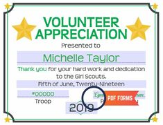 Award certificate templates sports girl scouts pinterest girl scout volunteer appreciation certificate pdf template yelopaper Image collections