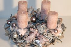 """Advent wreath – Advent wreath """"root-rose-heart-silver-rose"""" – a unique product by Mia-Floristik on DaWanda Pink Christmas, All Things Christmas, Christmas Tree Ornaments, Christmas Time, Christmas Crafts, Advent Wreath, Diy Wreath, Wreath Making, Christmas Centerpieces"""