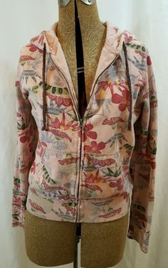 Lucky Brand Floral Passion Flowers Pink Rose Hoodie Sweatshirt Medium in Clothing, Shoes & Accessories, Women's Clothing, Sweats & Hoodies | eBay