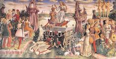 """Allegory of April--Triumph of Venus"" by Francesco Del Cossa (1476-84)"