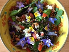 Linzen salade met geitenkaas pitjes tomaat spekjes en eetbare bloemetjes