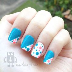 Polka dots nail art design How cute - Adorable Polka Dots Nail Designs Polka dots nails are easy and adorable nail designs. To be be creative. You could DIY many ideas by yourself and add fun and joy in the design. Fancy Nails, Trendy Nails, Diy Nails, Nail Art Designs, Pretty Nail Designs, Dot Nail Art, Polka Dot Nails, Polka Dots, Nail Art Pen