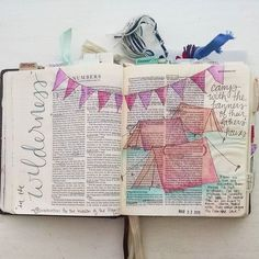 """It's been a looooong time since I've shared any of my bible journaling so I thought I'd share one of my favorite pages from a couple weeks ago when I settled in to work through Numbers. I love how this page turned out... The simple imagery highlighted text the link in my mind to my One Little Word for the year (CLEAR) and the notes from my bible commentary that struck me: """"even as they are beginning their journey in the wilderness God was preparing the Israelites for war. He organized them…"""