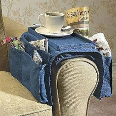 great sewing caddy for the armchair ~ not sure I'd put a cup of tea on top though!