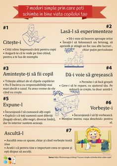 Infografic: 7 moduri simple prin care poti schimba in bine viata copilului tau Phonetic Alphabet, English Tips, Positive Discipline, Kids Education, Kids And Parenting, Positivity, Children, Simple, Speech Language Therapy