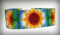 Sunny Flowers Beadwoven Bracelet 399 - $98.41 - Handmade Jewelry, Crafts and Unique Gifts by Noveenna  #beadweaving #beadedbracelet #seedbeadjewelry #freepeoplejewelry #handmade #handmadejewelry #giftsforgirlfriends #summerjewelry