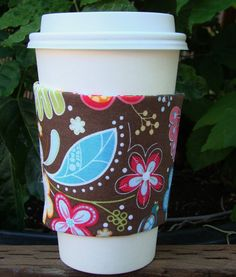 Fall Floral Fabric Coffee Cozy by MyCozyCabinCreations on Etsy, $4.00