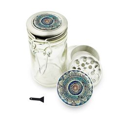 """50 Marijuana Grinders You Can Buy on Amazon like this Mandala 1.5"""" Herb Grinder and Glass Jar Combo! 4 Part Aluminum Grinder & Wire Top Glass Stash Jar for Herbs Spice Herbal w/ Free Jar Labels Cute Blue. Grind your cannabis efficiently with one of these 50 Weed Grinders on Amazon."""