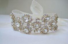 Glamorous bridal beaded crystal rhinestone wedding by IngenueB, $47.00