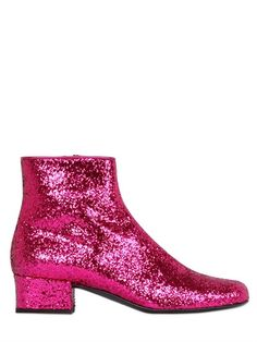 SAINT LAURENT - 40MM BABIES GLITTERED LEATHER ANKLE BOOT - LUISAVIAROMA - LUXURY SHOPPING WORLDWIDE SHIPPING - FLORENCE