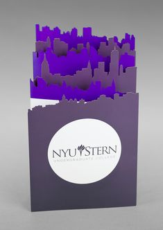 Laser-cut foldable banner designed for NYU Stern School of Business by Josh Korwin of Three Steps Ahead.