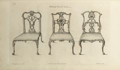 Ribband back chairs, from The Gentleman and Cabinet-maker's Director by Thomas Chippendale, 1754