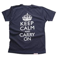 My motto for 2013 - Keep Calm and Carry On Men's T-Shirt (White on Denim)