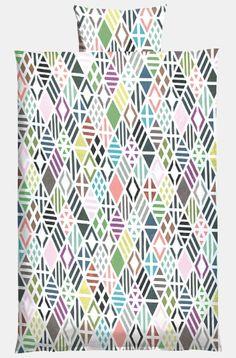 Bomuld offwhite m multifarvet mønster - STOFF & STIL