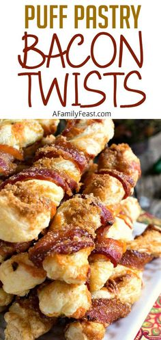 Puff Pastry Bacon Twists ~ salty, sweet, cheesy and crispy...and don't forget that there's bacon! This snack is addictively delicious!