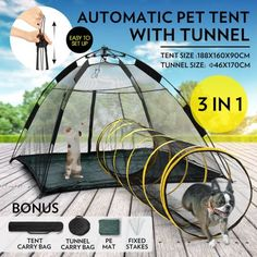 Outdoor+Pop-up+Pup+Tent+Portable+for+Pets+Dogs+Cats+with+Tunnel+One+Step+Assembly