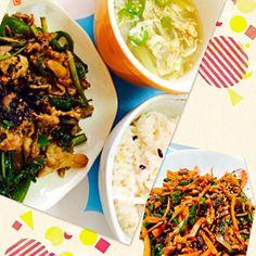 中華♪ - 5件のもぐもぐ - 緑野菜(エンサイ、ツルムラサキ、モロヘイヤ、ピーマン)のコチュジャン炒め、スープ & 青椒肉絲 by akarizumu