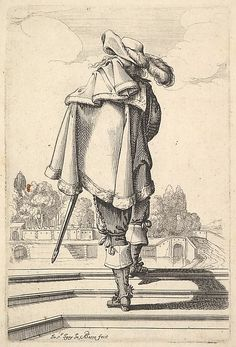 Plate 3: a gentleman, seen from behind, walking up a parapet, with a cloak over his left shoulder, wearing a plumed hat and boots with spurs, from 'La Jardin de la Noblesse Françoise dans lequel ce peut ceuillir leur maniere de Vettements'