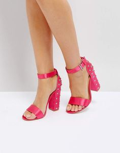 Truffle Collection Stud Block Heel Sandal in Hot Pink Satin