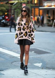 Sweater: Topshop  Skirt: Lovers & Friends  Boots: Balenciaga  Sunglasses: Karen Walker