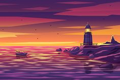 Colorful lighthouse illustration by Krol on Creative Market