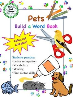 This pets themed build a word book activity is perfect for Pre-K, Kindergarten, ESL and special needs students.The hands on activity incorporates reading, writing, coloring, cutting and gluing which keeps students motivated and engaged. Students will learn vocabulary words related to pets as they practice their fine motor skills.
