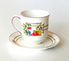 Vintage Teacups Coffee Cups Set of 4, Villeroy and Boch Mon Jardin, V&B Luxembourg China, Multicolor Summer Garden Fruit.   Love this fresh and pretty V & B China pattern, Mon Jardin (My Garden). Marvelous set of 4 of the coffee mugs measuring 3 1/2 tall x 3 1/4 in diameter, and 3 matching saucers measuring 6 in diameter. All are in excellent condition with virtually no signs of wear, chips, cracks, etc. (I also have 2 demitasse cups and saucers listed in my Kitchen and Serv...
