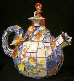 FanScape Sandy Caruso Mosaic Artist old green metal teapot with extreme makeover
