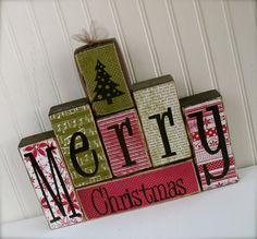 Merry+Christmas+Wood+Blocks+Set+with+Christmas+by+doubledutydecor,+$28.95